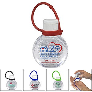 1 oz.Hand Sanitizer Antibacterial Gel with Adjustable Silicone Carry Strap - Spot Color Direct Print